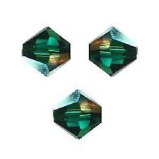 20 Perles Toupies 4mm Cristal Swarovski  - MEDIUM EMERALD AB