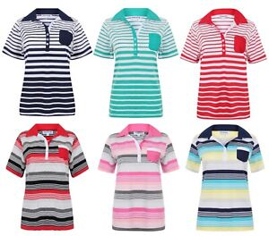 Ladies-Polo-Shirt-Striped-Cotton-Blend-New-Button-Up-Collar-Womens-Pocket-Summer