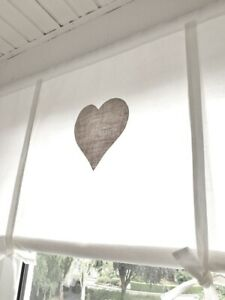 Détails sur Store rideau Coeur Lin Beige Vintage Shabby Chic  90/110/130/150x100 cm- afficher le titre d\'origine
