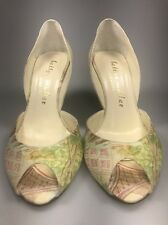 Bettye Muller Poi de Soie D'orsay peep toe floral print pumps heels 7