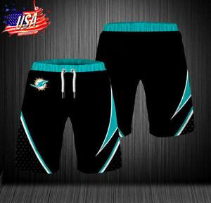 Miami Football Dolphin Shorts with Pockets Mens Athletic Shorts Men Casual Shorts