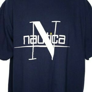 d9e31affb Nautica T Shirt Vintage 90s Spell Out Streetwear Made In USA Blue ...