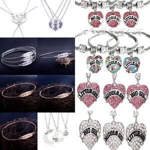 3PC-Crystal-Heart-Love-Big-Mid-Lit-Sister-Chain-Pendant-Necklace-bracelet-Gift