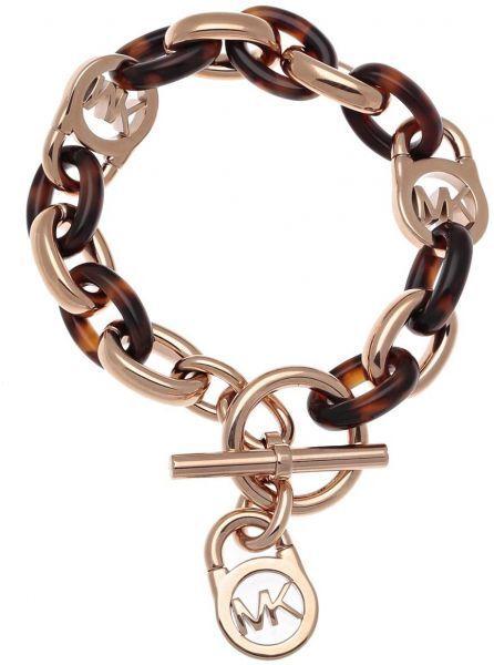 Michael Kors Rose Gold Tone And Acetate Chain Link Bracelet Mkj4059791 Ebay