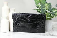 Yves Saint Laurent Medium Crocodile Embossed Leather YSL Monogram Clutch Pouch