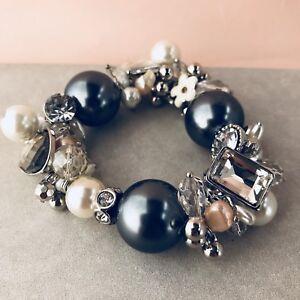 0b70da021 UK Ladies Womens Luxury Designer Grey Pearl Diamanté Chunky Bracelet ...
