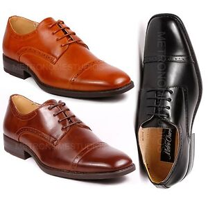 Metrocharm MC122 Men's Cap Toe Classic Formal Dress Shoes