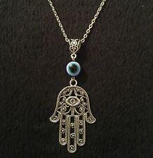 "Hamsa Hand Necklace 24"" Hand of Fatima Spiritual Yoga Buddha Evil Eye Pendant"