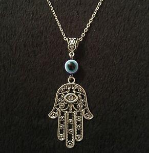 Buddha Hamsa Hand Necklace on Cord Gift Bag Spiritual Hand of Fatima