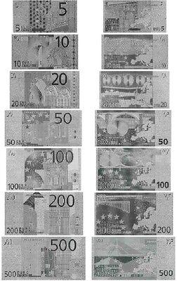 LOTE 7 BILLETES EURO PLATA SILVER COLECCION COMPLETA NEW MINT!!!