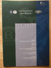 BENTLEY ROLLS ROYCE Key Goals 1999 rare internal brochure
