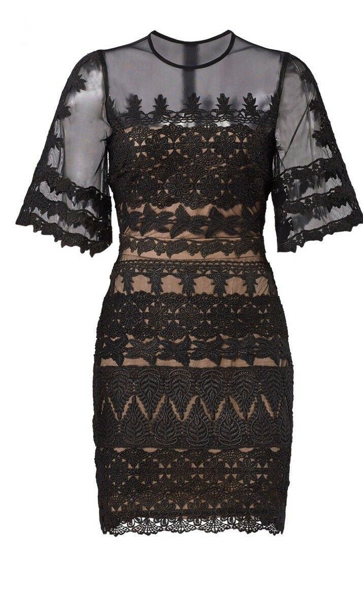 Nicole Miller Collection schwarz Lace Over Mesh Shift Dress Größe 2 New