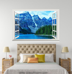 3D-Blue-Sky-Hills-Tree-048-Open-Windows-WallPaper-Murals-Wall-Print-AJ-Carly