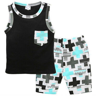 Hot Toddler Baby Boy Vest Tops+ Cross Pants Short 2pcs Outfits Clothes Set
