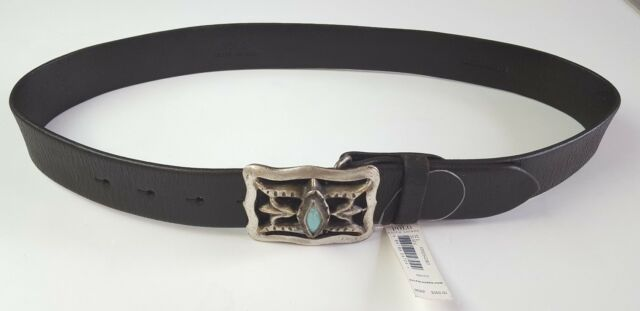 f09f185dfa25 POLO RALPH LAUREN WEATHERED BLACK LEATHER BELT W  GENUINE TURQUOISE STONE