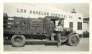 Vintage Snapshot; Los Angeles Chemical Co. Bldg, Delivery Man & Truck, Southgate