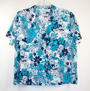 dc9bb5bb KIM ROGERS WOMAN Plus 1X Aqua Floral Cotton Rayon Button Front SS ...