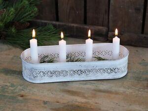 Chic-Antique-Adventsleuchter-Kerzenstaender-Kerzenleuchter-weiss-Vintage-Shabby
