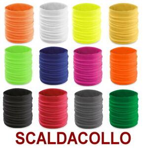 SCALDACOLLO-Leggero-TUBOLARE-fluo-SCIARPA-Fascia-fluorescente-Paracollo-vento