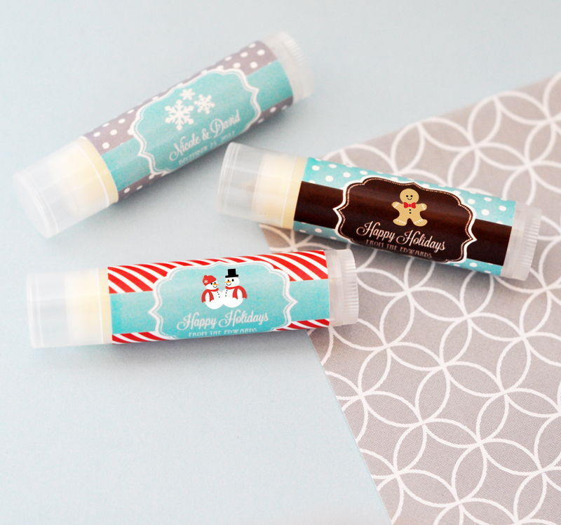 100 Personalized Lip Balm Tube Winter Christmas Holiday Wedding Party Favors