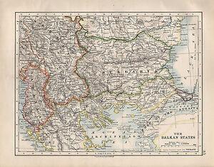 1914 map balkan states bulgaria albania serbia greece ebay image is loading 1914 map balkan states bulgaria albania serbia greece sciox Images