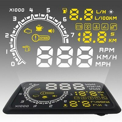 """5.5"""" LED LCD Car HUD Head Up Display OBD2 Interface Fuel Overspeed Speed Warning"""