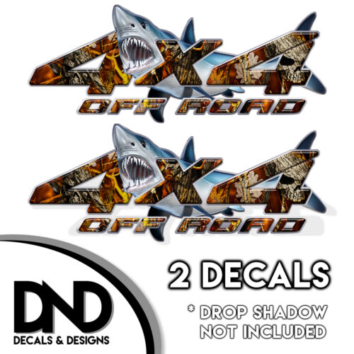 D/&5BF Fire Skull Camo Shark 4x4 Wraps Off Road Decals 2 Pk Sticker Ford Chevy