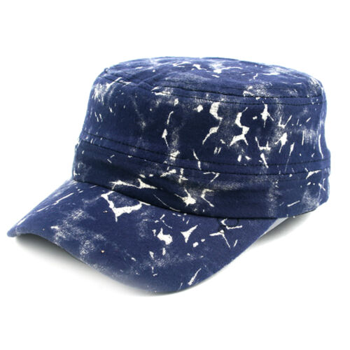 Pop Fashionwear Unisex Marble Painted Look Cadet Hat Blue 303HT