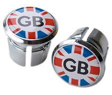 Great Britain GB Union Jack Bicycle Handlebar Chrome Plastic Bar End Plugs, Caps