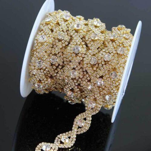 1 Yd Crystal Rhinestone Chain Applique Gold Silver Crystal Trim Sewing Wedding