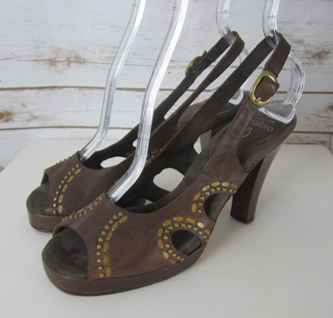CALLEEN CORDERO Womens 7 M Brown Leather Studded Peep Toe Platform Heels
