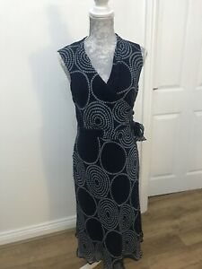 Planet-Navy-Long-100-Silk-Dress-With-Circle-Dot-Pattern-And-Wrap-Bust-Size-8