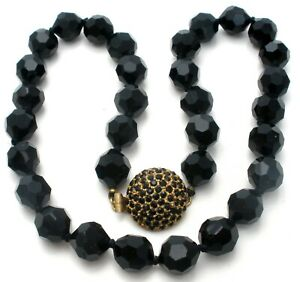 Vintage-Hand-Knotted-Black-Bead-Necklace-Signed-Les-Bernard-Vintage-Jewelry-W