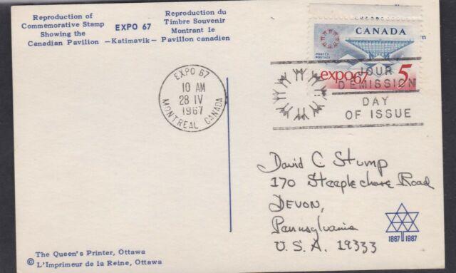 CANADA 1967 FDC MAXI CARD EXPO '67 INTL. EXHIB. EMBLEM & CANADIAN PAVILION