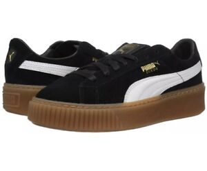 new product 19aea 371ae Details about Women's Suede Platform Core Black / 363559-02 / W Puma White  Gold Gum