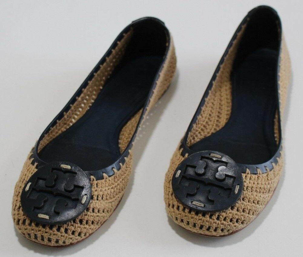 offerta speciale Tory Burch 6.5 6.5 6.5 Navy Leather Beige Crochet Flat Ballet Slippers Round Toe Brazil  con il 100% di qualità e il 100% di servizio