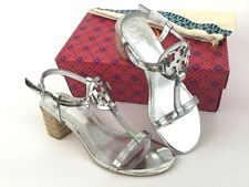 cd2ce209cd06 item 8 Tory Burch Miller Block Heel Logo T-Strap Silver Leather Sandal 6 US  -Tory Burch Miller Block Heel Logo T-Strap Silver Leather Sandal 6 US