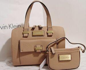 New-Calvin-Klein-Box-Satchel-Bag-Wristlet-Set