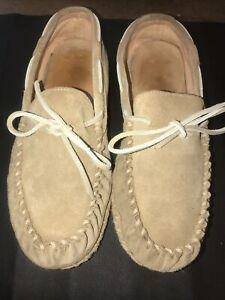 L-L-Bean-Womens-Wicked-Good-Deerskin-Lined-Slippers-Original-Venetian-Size-10