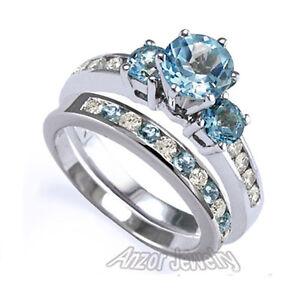 Image Is Loading 14k White Gold Blue Topaz Diamond Engagement Ring