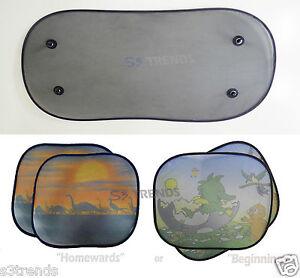 3-PC-Car-Rear-Window-Side-Sun-Shade-Cover-Visor-Shield-Screen-Mesh-Foldable-USA