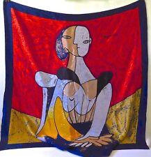 PICASSO CUBIST MOTIF PORTRAIT OF A WOMAN SILK SCARF. 36''X 34 2/3'' LARGE SIZE