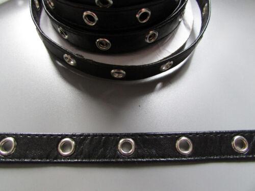 Black pleather oeillet bordure/ruban adhésif 1cm 1/2 couture/costume/artisanat/corseterie/punk