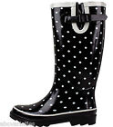 New Women's Fashion Black Dotted Rubber Rain Boots