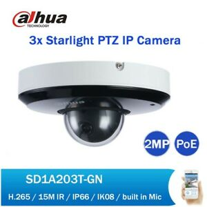 Details about Dahua 2MP 3X Starlight IR POE PTZ Network Camera SD1A203T-GN  IVS H 265 IP66 WDR
