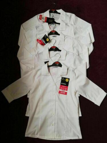 Nouveau 5x Filles Blanc Haut Chemisier âge Scolaire 10 Revere BHS à Manches Courtes Ouvert
