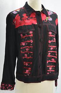 Doublé Tommy € 106 Floral Nwt à Revers Noir Rouge Loulou Boutonné Manteau N En4x5wwOY
