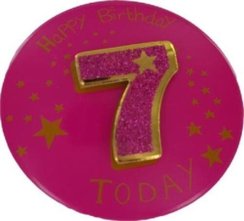 """6/"""" Jumbo 3D Pink Glitter 7th Birthday Badge Girls 7 Today Party Supplies"""