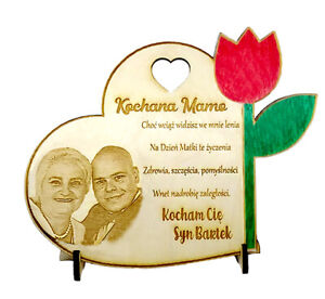 Mother-039-s-Day-Wooden-Personalised-Gift-Engraved-Photo-Heart-Flower