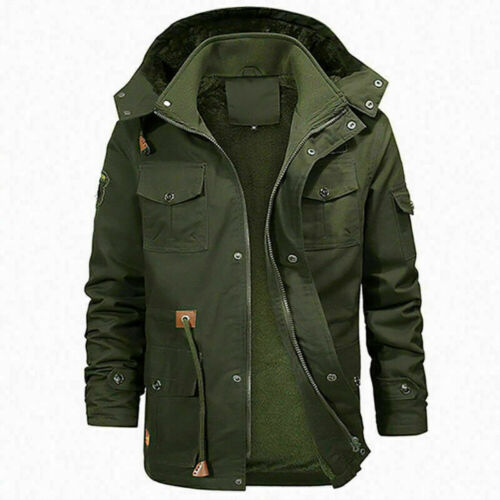 UK Mens Fur Overcoats Parka Padded Winter Warm Thick Coat Hooded Jacket Outwear